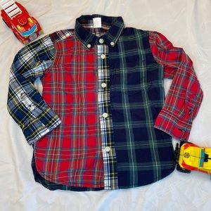 GAP multi pattern plaid button down shirt